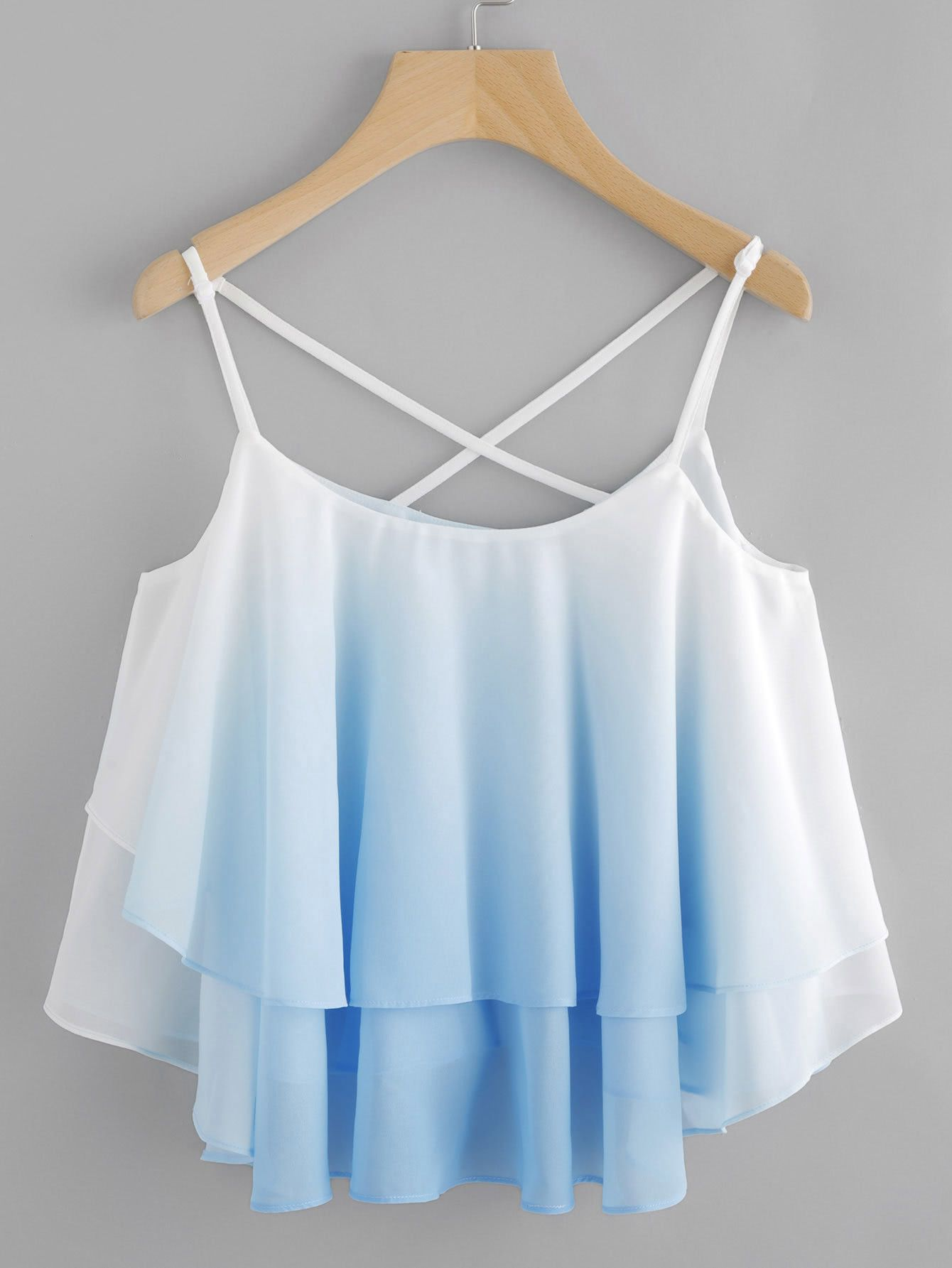 828dbb41f05a1 Shop Ombre Crisscross Layered Swing Cami Top online. SheIn offers Ombre  Crisscross Layered Swing Cami Top   more to fit your fashionable needs.
