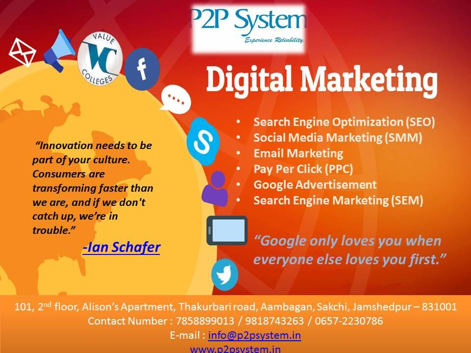 P2p System Is One Of The Leading Digital Marketing Company In Ranchi With More Than In 2020 Digital Marketing Digital Marketing Company Best Digital Marketing Company
