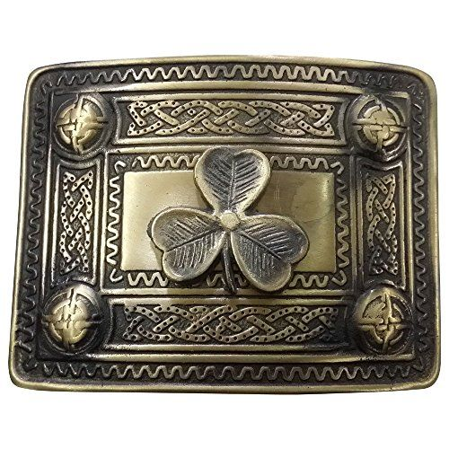 Scottish Kilt Belt Buckle Celtic Studs with Irish Shamroc...