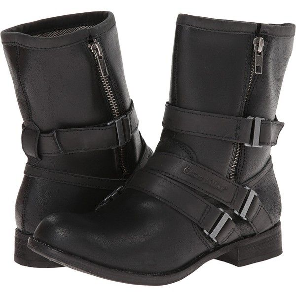 Caterpillar Casual Paula (Black Reverse Suede/Black Leather) Women's...  ($60) ❤ liked on Polyvore featuring shoes, boots, ankle boots, black, short  black ...