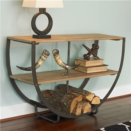 Diy make this with the metal fire wood holders you can buy cheap wooden semi circle console for Where can i buy cheap living room furniture
