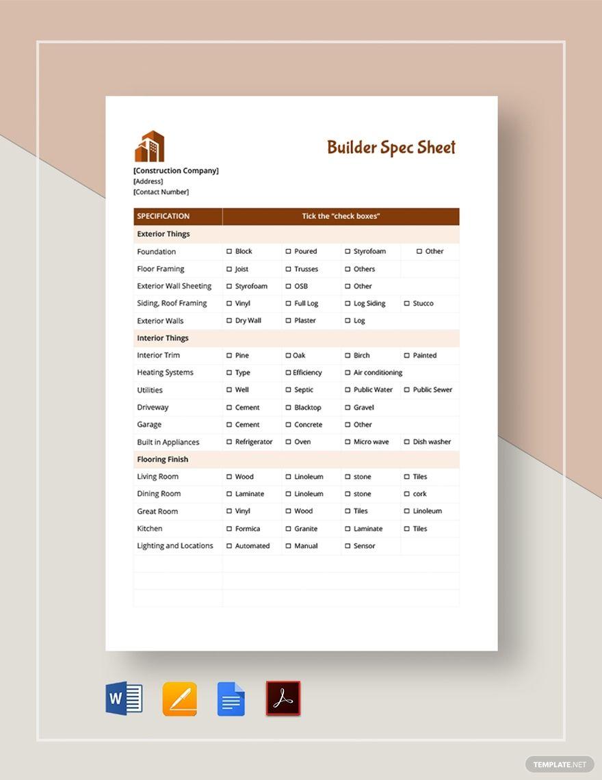 Builder Spec Sheet Template in 2020 Roof framing, Floor
