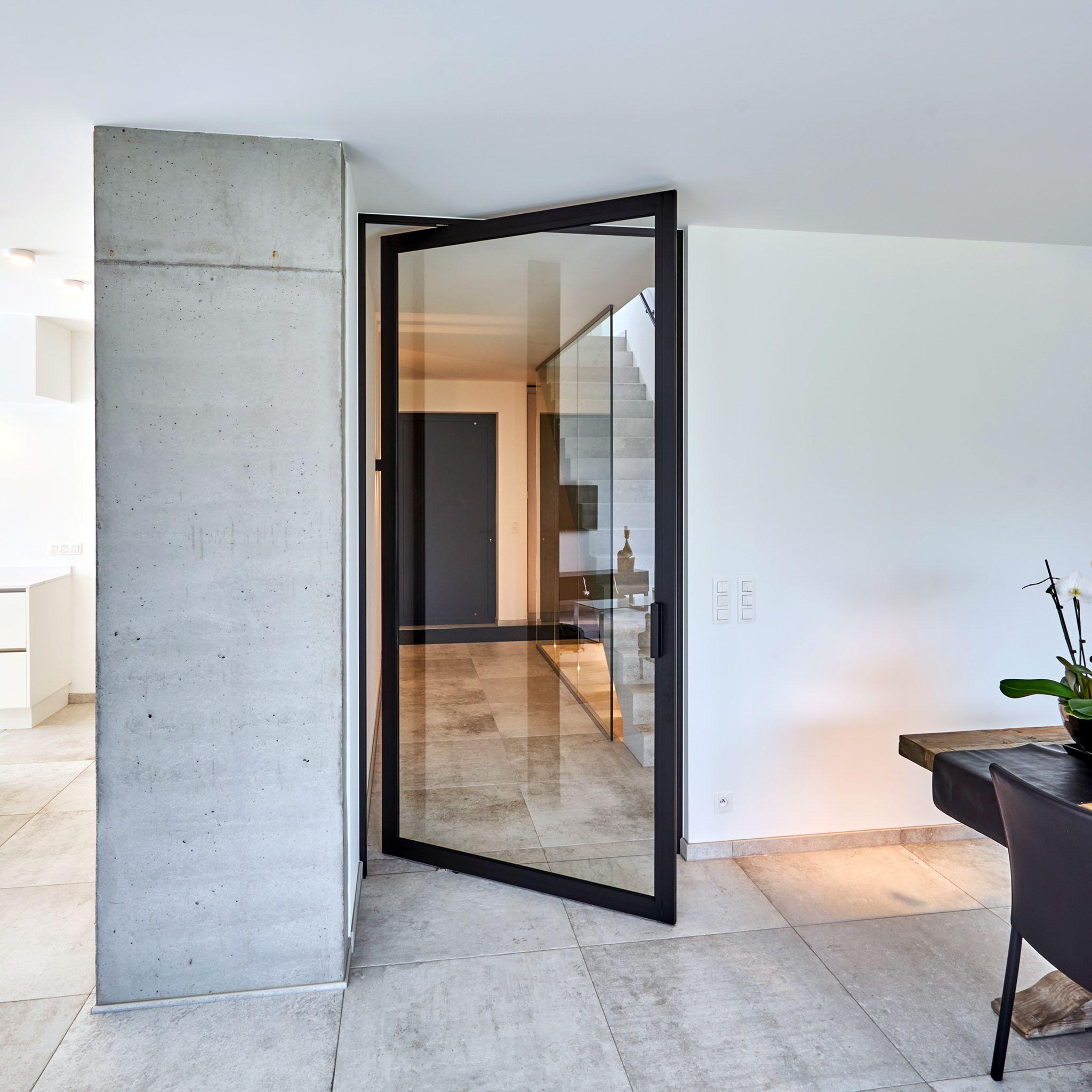 Porte Vitrée Steel Look Moderne Sur Pivot Désaxé Anyway Doors - Porte vitrée sur pivot