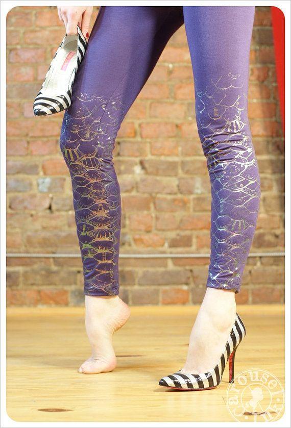 Mermaid Scales Purple Leggings  Printed Mermaid by Carouselink, $30.00