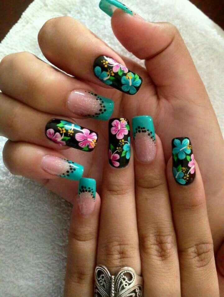 Uñas Hermosas Turquesa Flores Uñas Decoradas