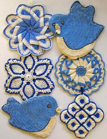 "Watch Maggie review this beautiful Vintage Blues Potholder Crochet Pattern! Design by: Maggie Weldon Skill Level: Intermediate Sizes: Bluebird #1 Potholder - about 7"" wide, 5"" tall Bluebird #2 Pothold"