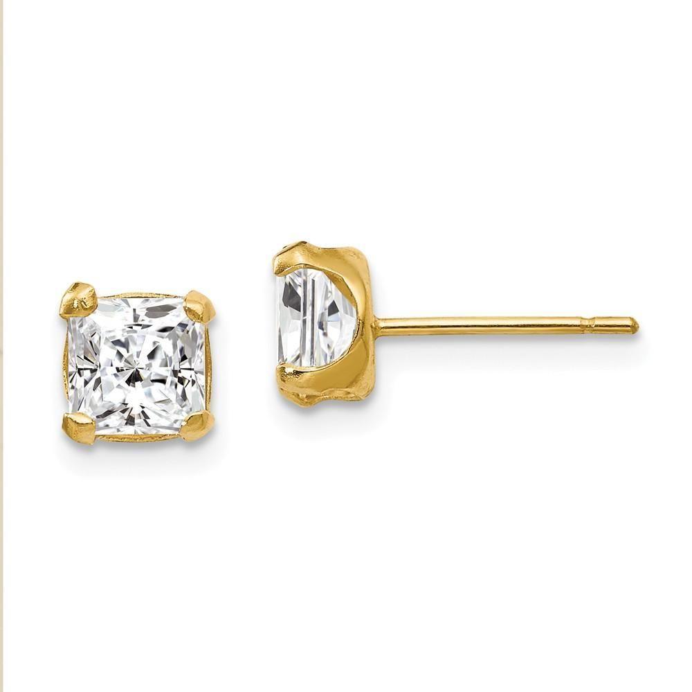 6067daeae 5mm Princess Basket Set Cubic Zirconia Earrings in 14k Yellow Gold ...
