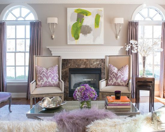 Like the wall color with the lavender subtle purple and - Purple and green living room decor ...