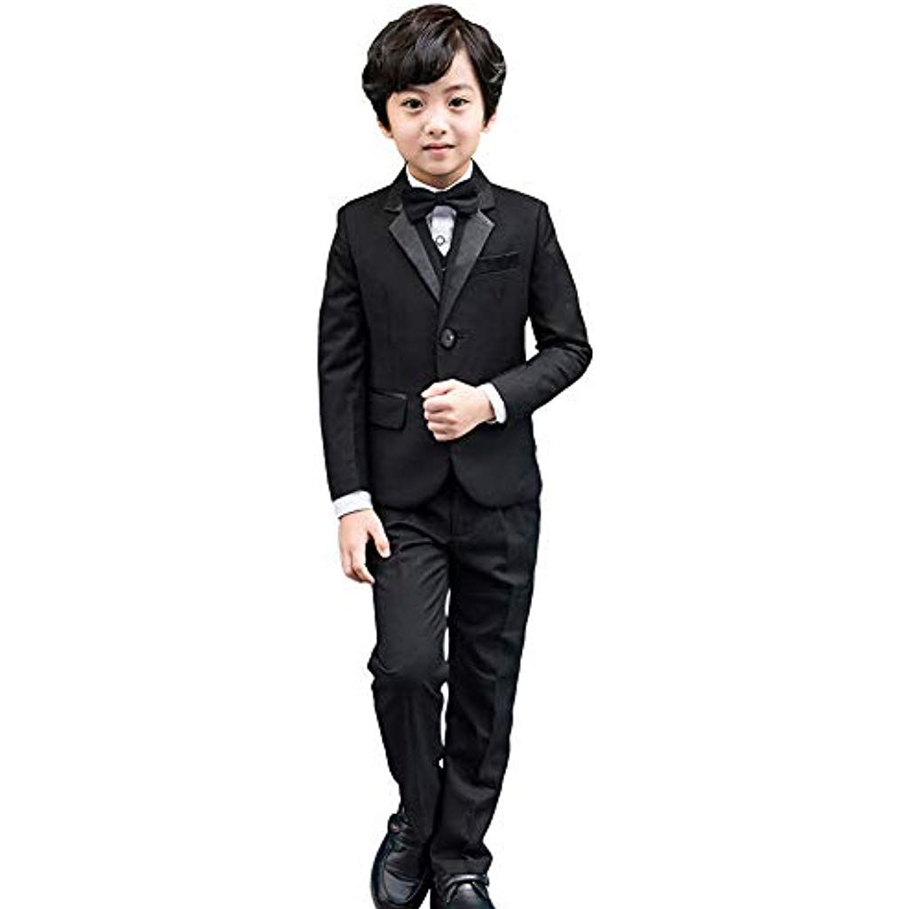 5 pièces Smoking-garçons Noir Costume Costume garçon dhonneur Bal pour  garçon Mariage Costume   4487d92e400