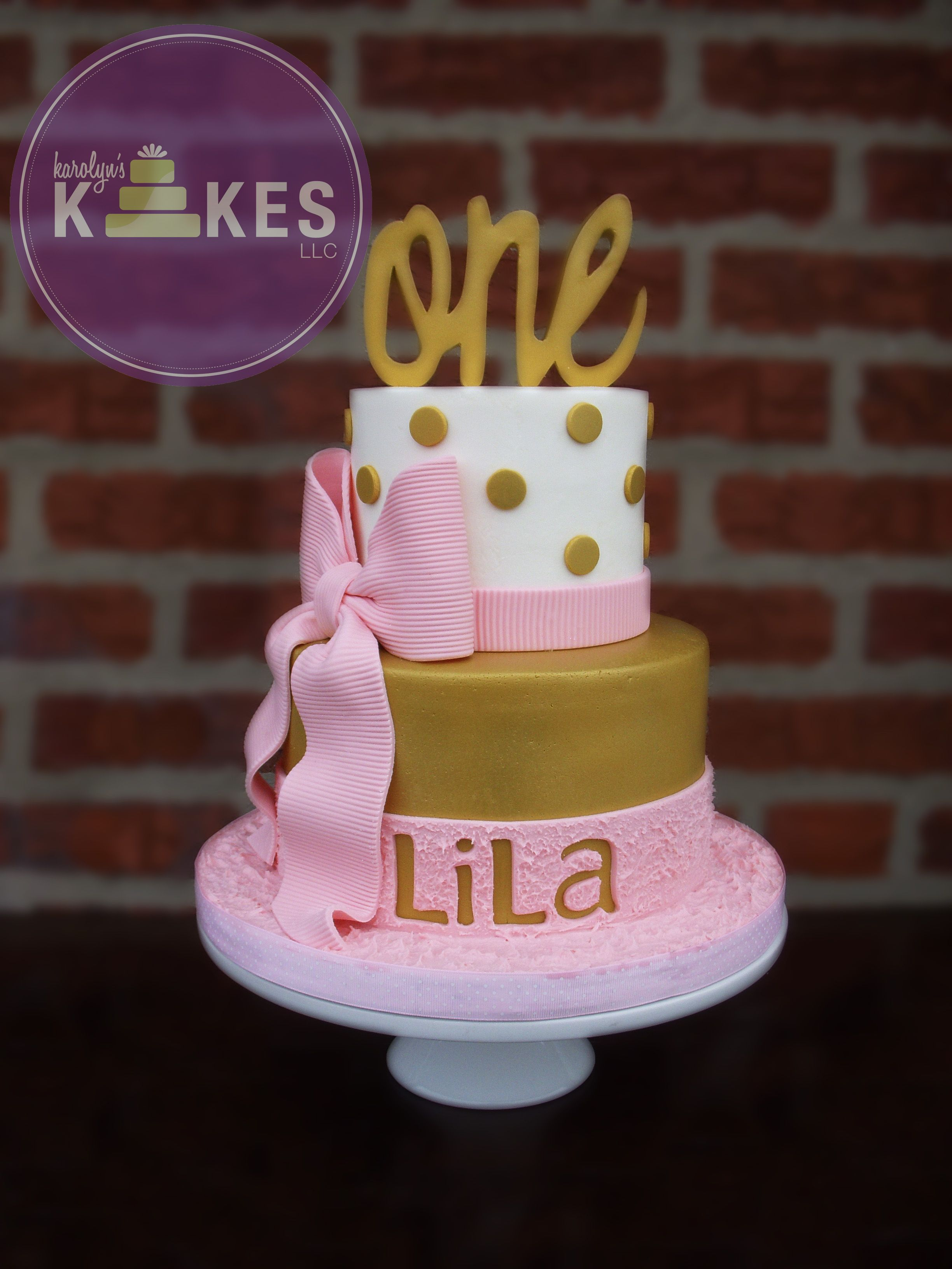 Pink And Gold Girly First Birthday Kake Top Cake Is Iced