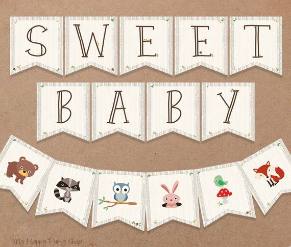 picture about Welcome Baby Banner Free Printable referred to as Woodland Child Shower Banner, PRINTABLE, Cute Kid, Pets