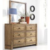Ashley Birnalla Dresser with Mirror - The Birnalla youth bedroom collection makes a great addition to any bedroom set. Featuring a light brown finish and contemporary design, this bedroom collection will add both comfort and style to any space.