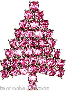 Tannenbaum Pink.Pink Crystal Brooch Triangle Christmas Tree Lapel Pin Velvet Bag O