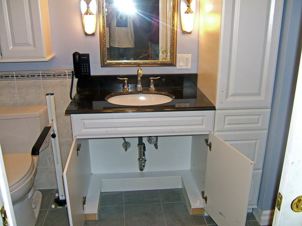 Handicapped sink vanity wheelchair accessible sink and for Handicapped accessible bathroom plans