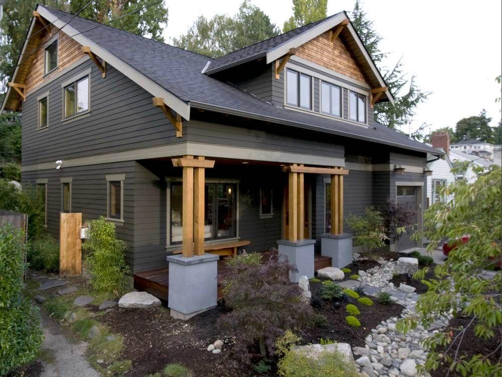 Grey cedar with black windows and light trim house plans - Houses with black windows ...