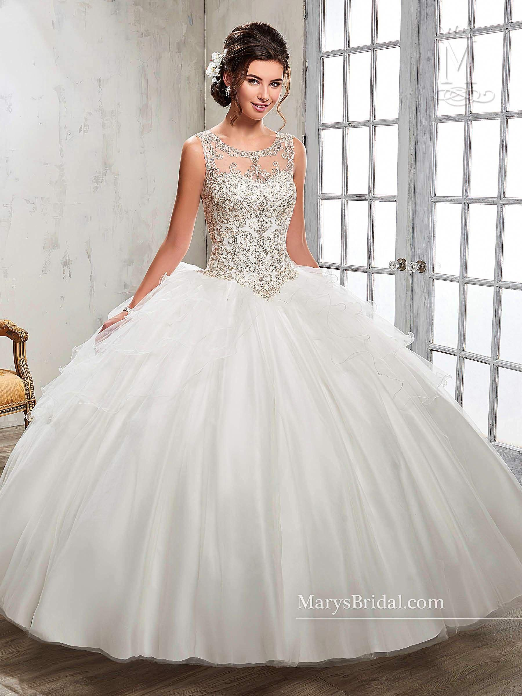 03216aae84c Illusion A-line Quinceanera Dress by Mary s Bridal Princess 4Q510   uniquequinceaneradresses