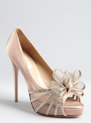 valentino blush satin and embellished mesh bow open toe