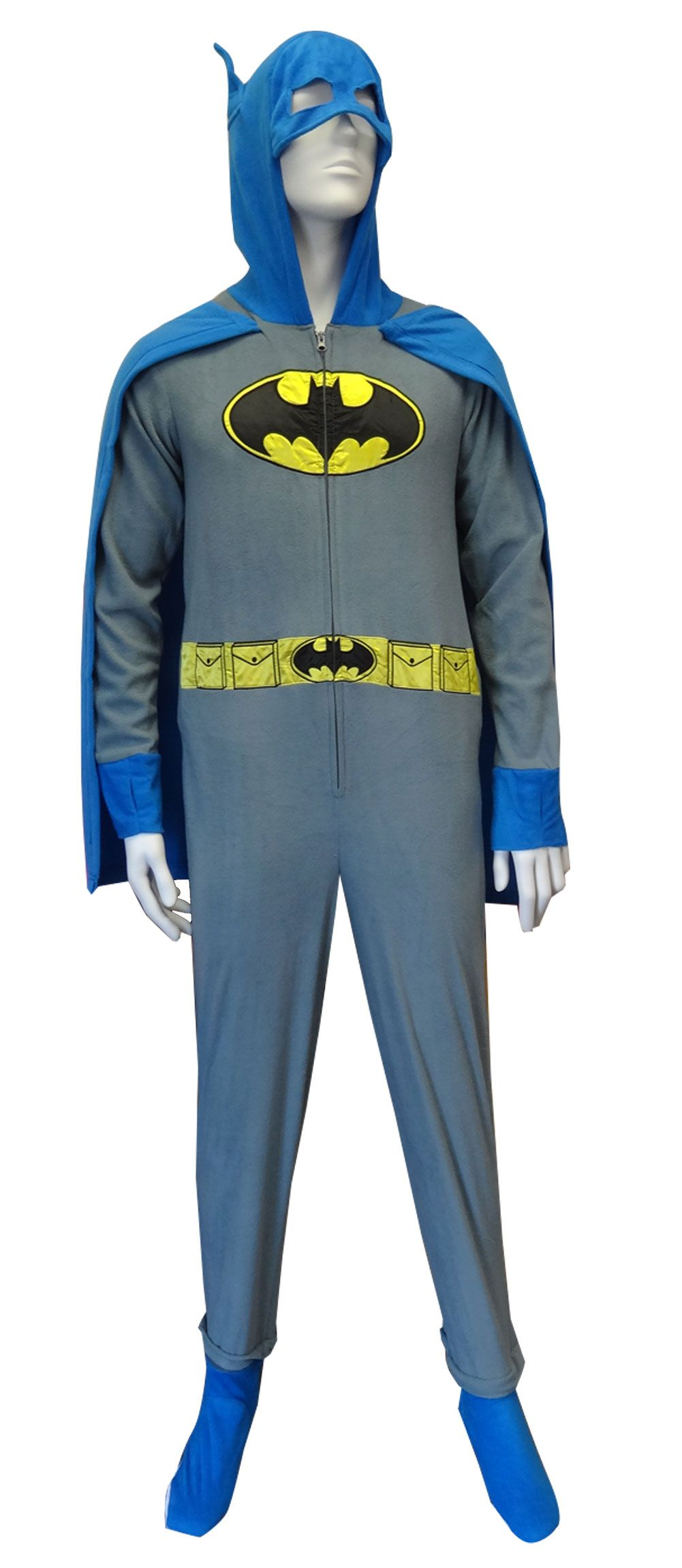 38ae23a5fd59 Batman   BatGirl Hooded Gray Onesie Footie Pajama with Cape Who says capes  are for kids  These pajamas for adults feature a bold yellow and black Bat  shield ...