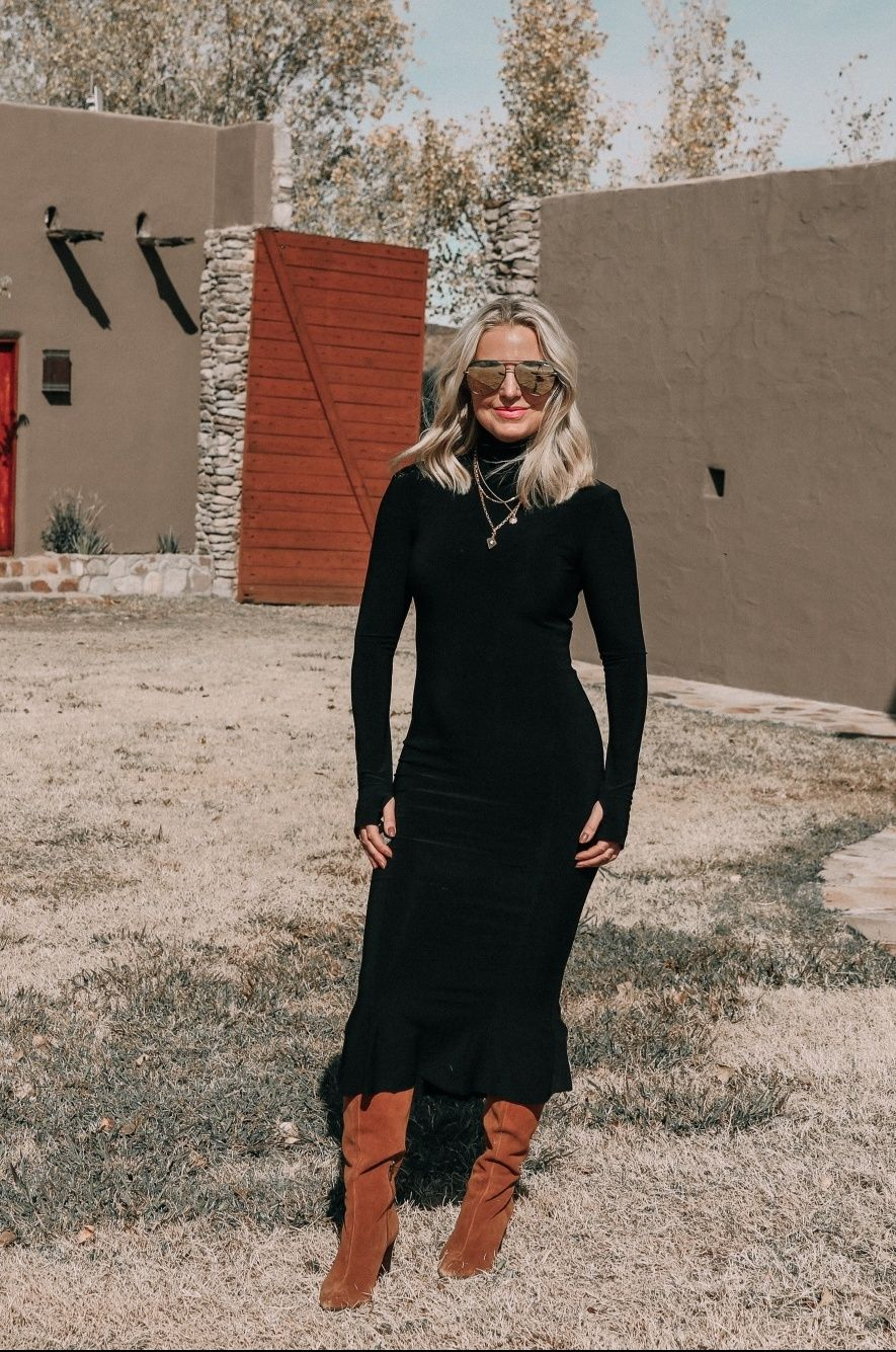 The Most Casual Yet Versatile Dress For Winter The Black Midi Dress Black Midi Dress Versatile Dresses Winter Dress Outfits [ 1335 x 885 Pixel ]