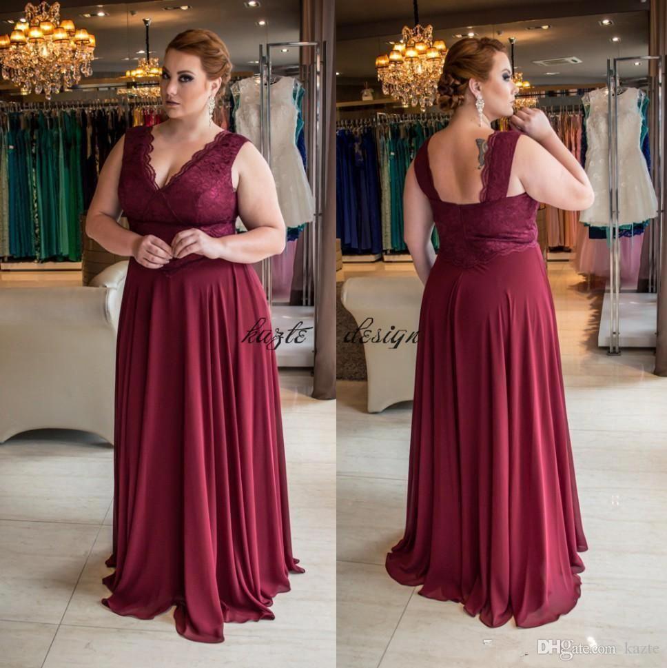 Stunning burgundy plus size lace evening dresses vneck a line cheap