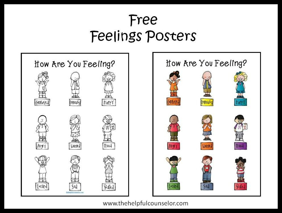 Free Feelings Poster and Coloring Page | Feelings, Counselling and ...