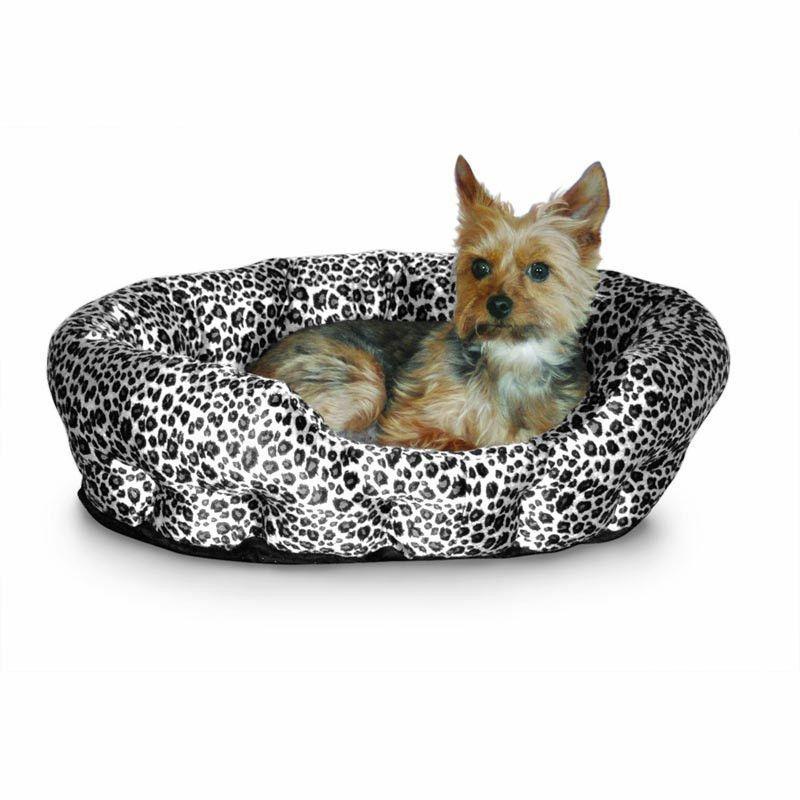 """K&H Pet Products KH3612 Self Warming Nuzzle Nest Black Leopard 19"""" x 19"""" x 6"""""""