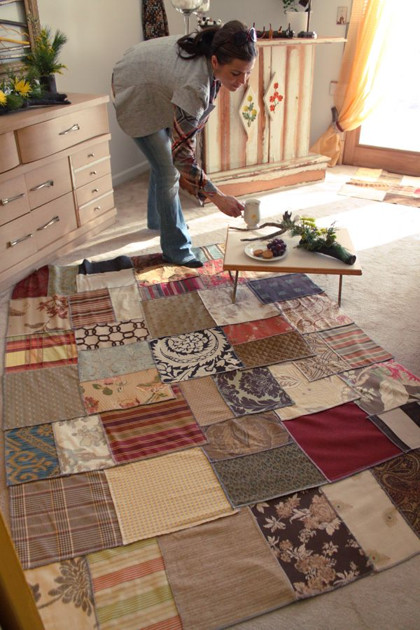 Throw Rug From Upholstery Weight Fabric Scraps Find An