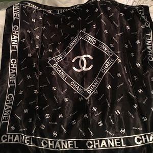 Black Chanel Scarf On Poshmark Chanel Scarf Scarf Design Designer Jewelry Chanel