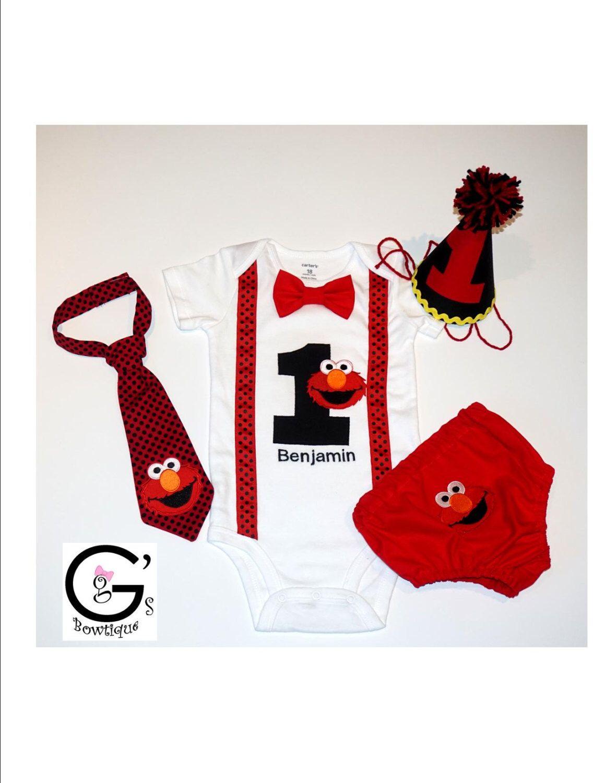 0b4596c4f Sesame Street Elmo 1st Birthday Smash Cake Party Outfit Bow Tie Onesie Baby  Toddler Boys Shirt