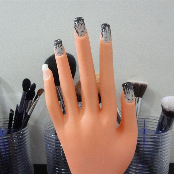 이동 거짓 손 네일 아트 디스플레이 쇼 연습 도구