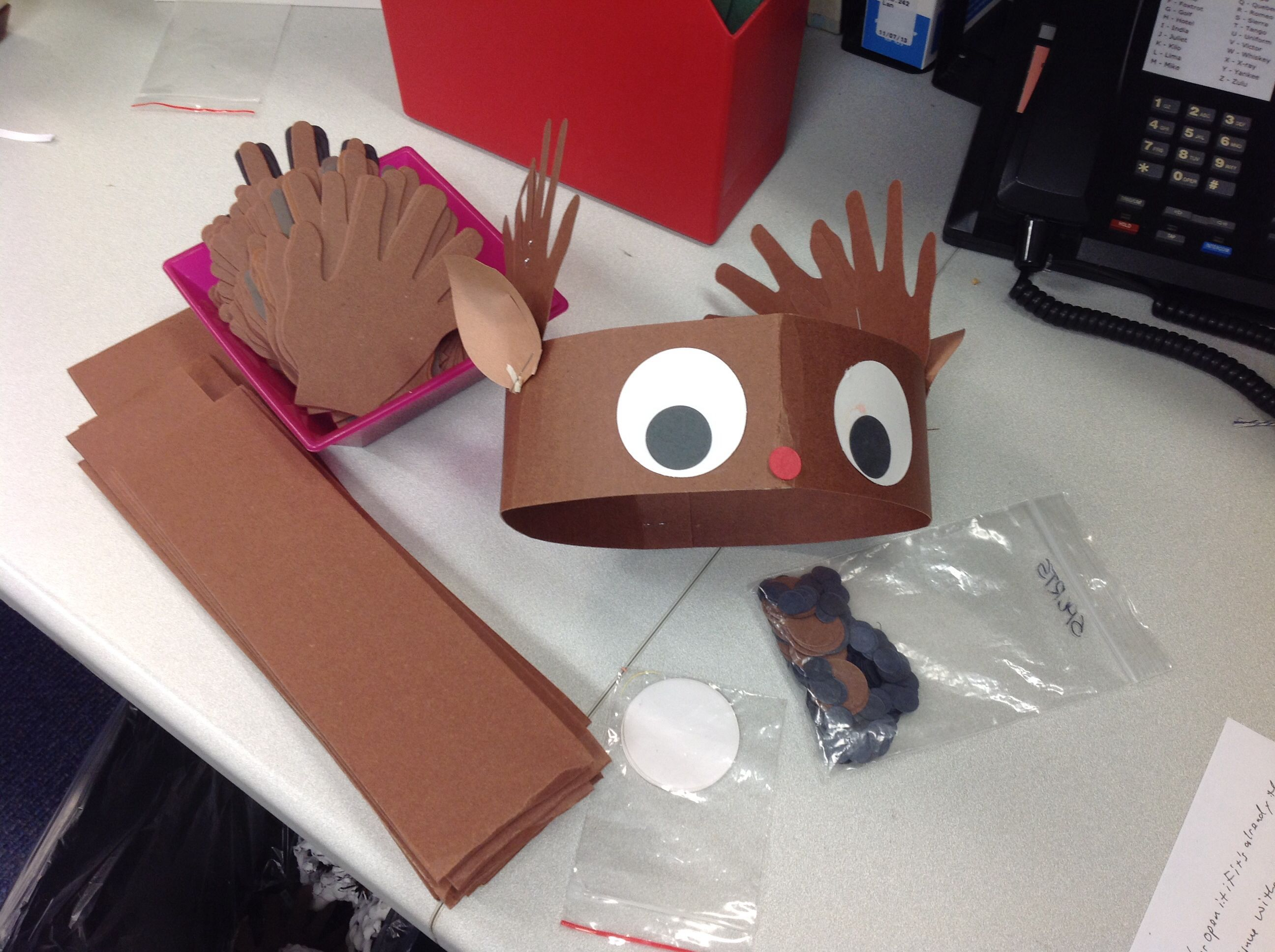 Reindeer Hat One Poster Board Head Band 4 Hands Drawn