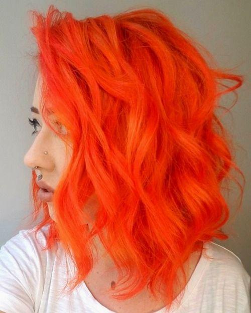 Neon Orange Hair Color Hair Color Orange Hair Styles Orange Hair
