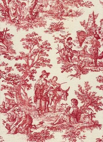 Rustic Life Crimson Waverly Fabric Toile Pattern Toile Fabric