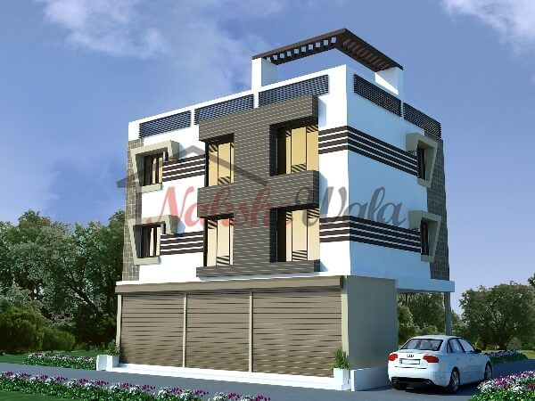 Front Elevation Residential Building Autocad : Residential cum commercial elevation d front view