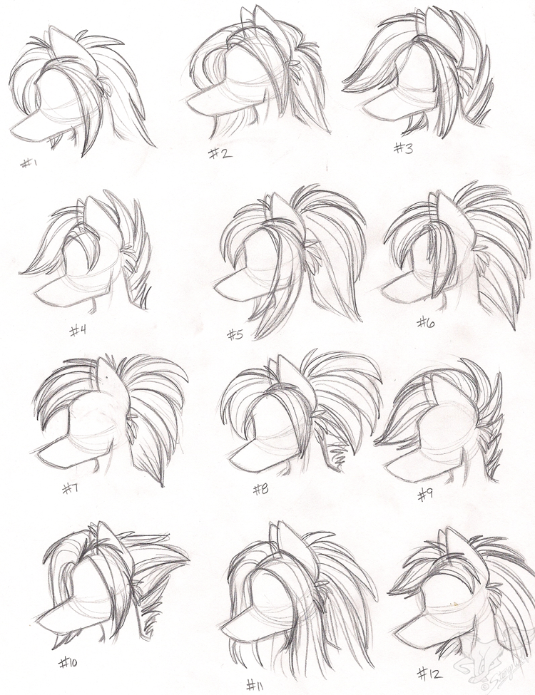 Female Anthro Wolf Hairstyles By Stangwolf How To Draw Hair Furry Drawing Animal Drawings