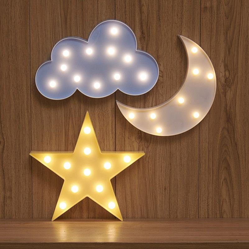 Adoravel Nuvem Estrela Lua Led 3d Luz Night Light Bonito Criancas