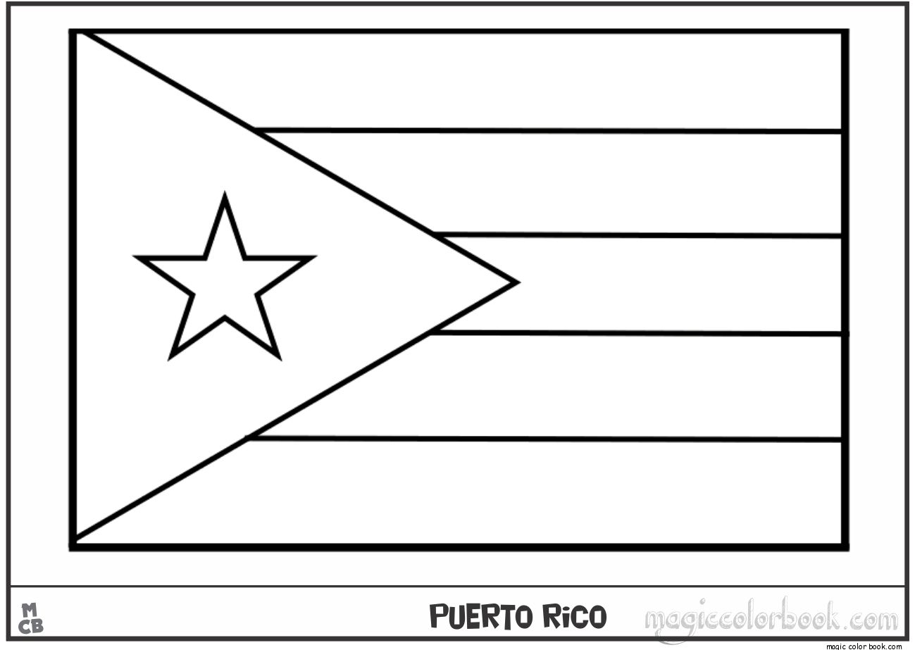 Puerto Rico Coloring Pages to Print  Flag coloring pages