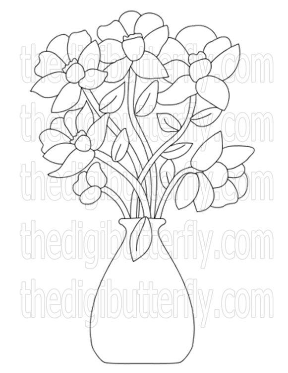 Free Flower Digi Stamps Black And White Flower Vase Flower