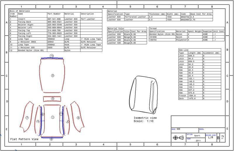 SDE can generate engineering drawings as required for the seat ...