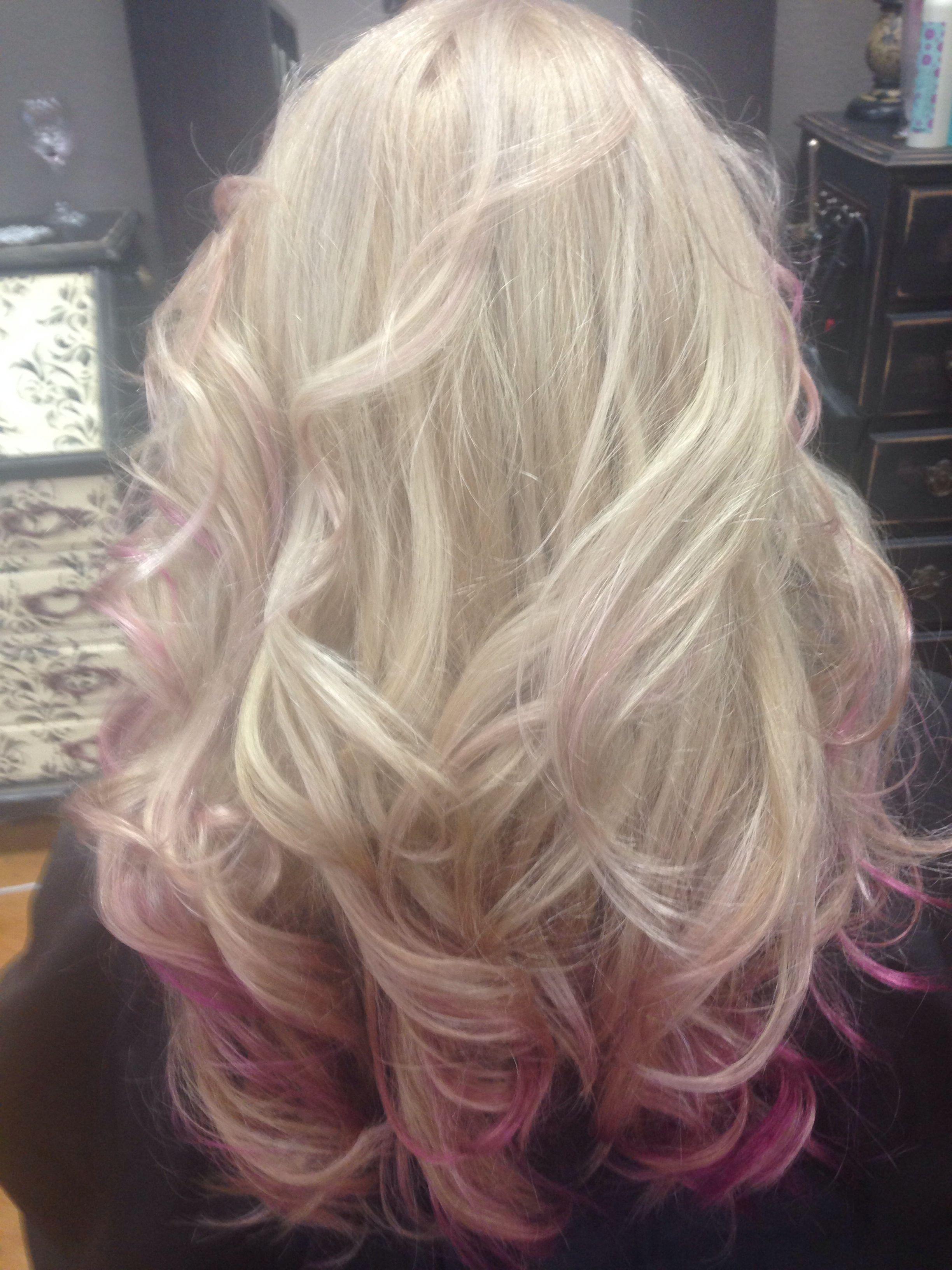 Cotton candy pink ombré davines anewcolor tresbellasalon boerne