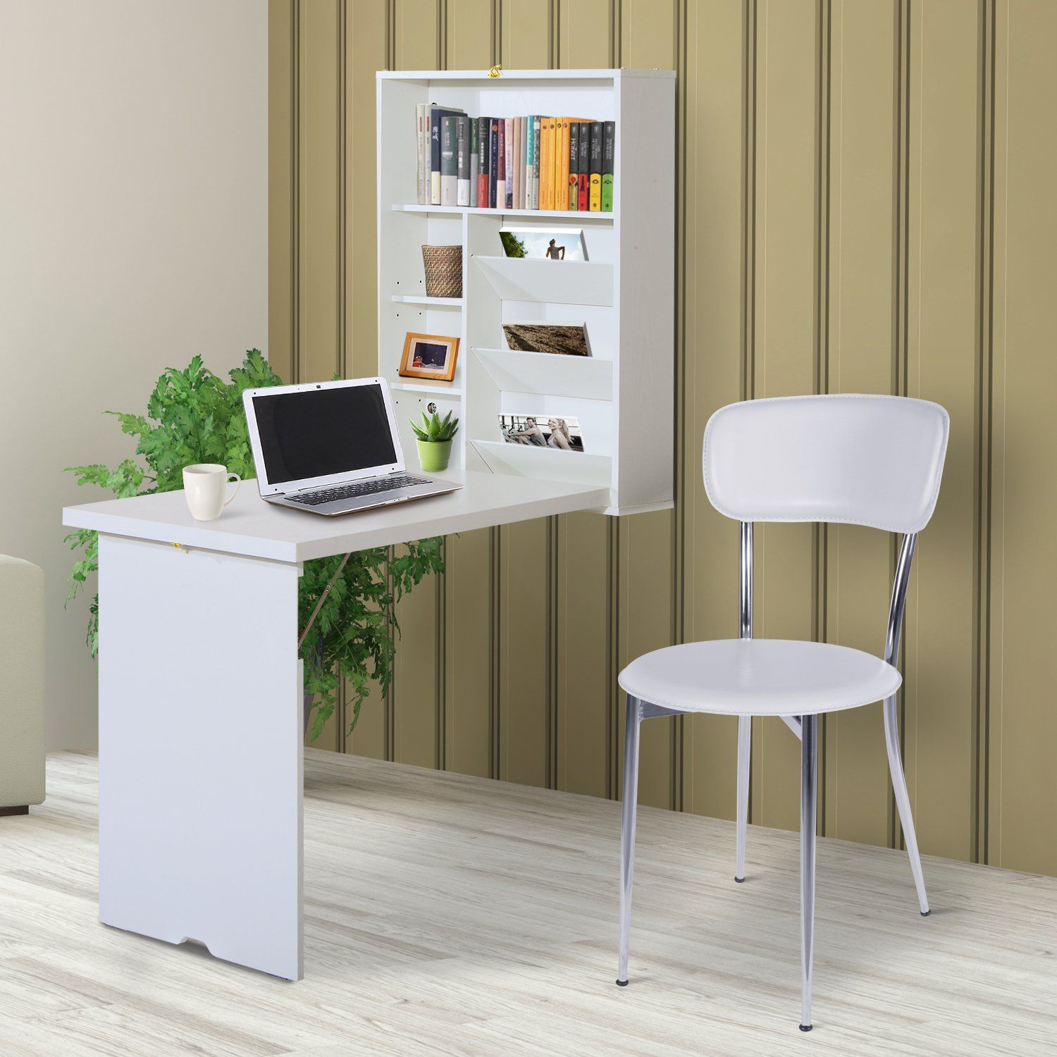 Homcom Wooden Fold Out Convertible Wall Mount Floating Desk White Writing Tables Aosom Convertible Desk Floating Desk Fold Down Desk