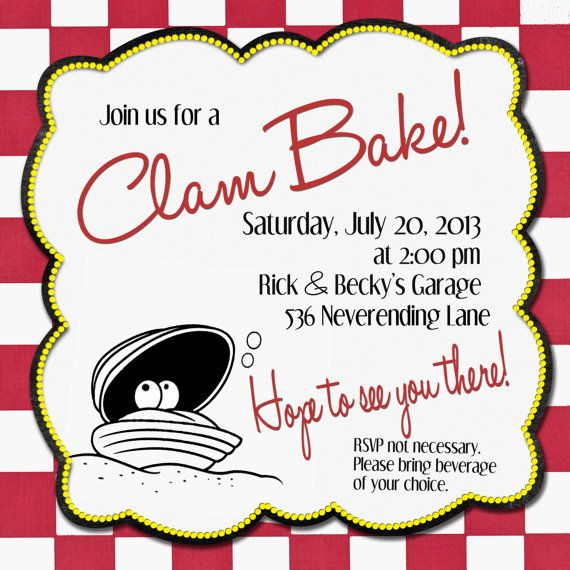 Clam Bake Invitation Digital File In 2019 Clambake Lobster Fest