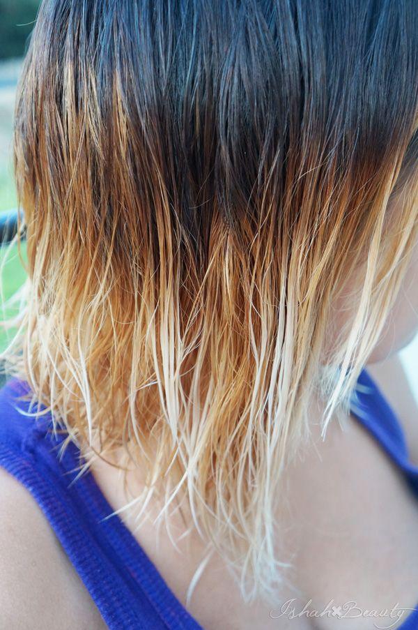 Diy Ombre Bleach Dark Brown Hair To Blonde Without Too Much Damage Brown Blonde Hair Hair Hair Hacks