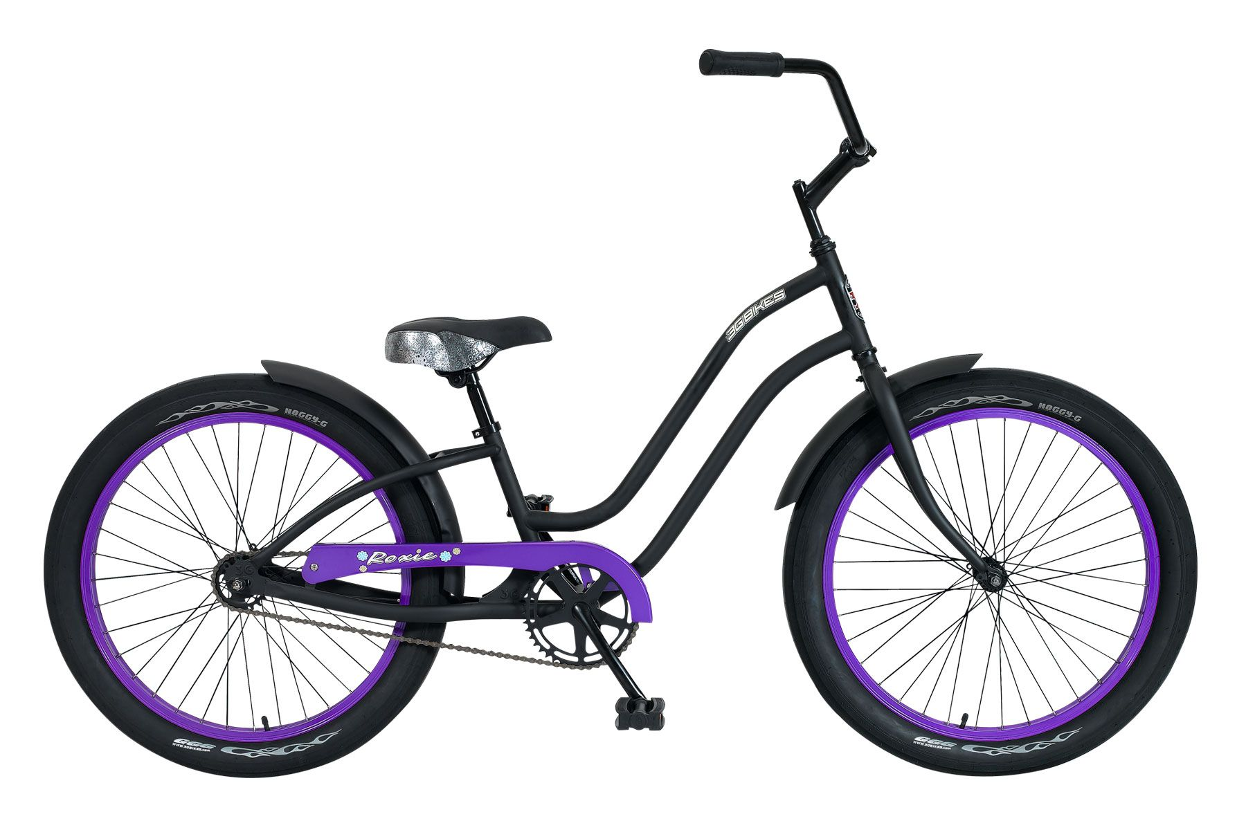 75e88eb7352 Girl s Roxie beach cruiser bicycle in black and purple. 24