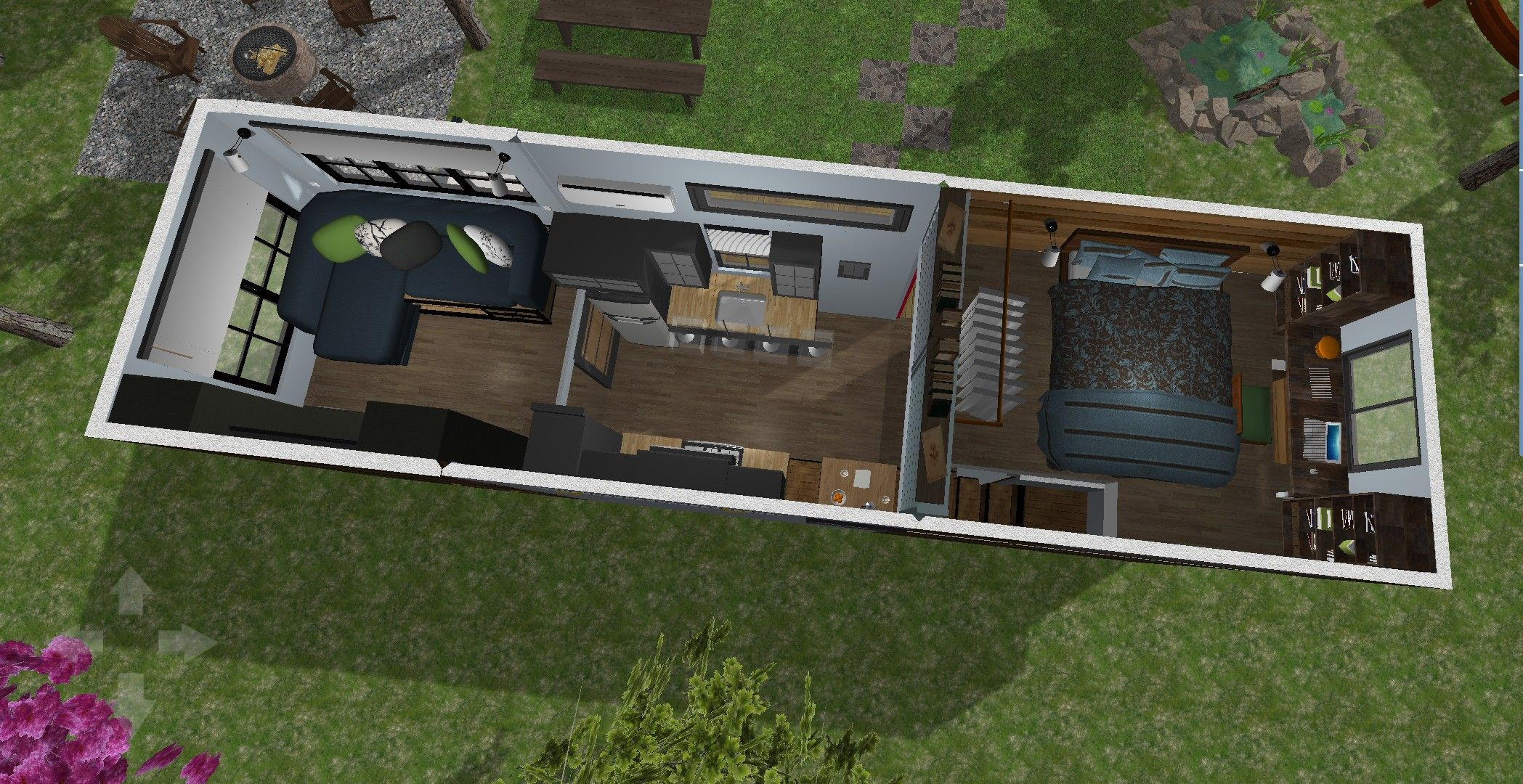 Tiny House Design Created Using Home Design 3D. 340 Square Feet On A 28u0027 ×  8.5u0027 Trailer. Two Bedroom, One Being A Reverse Loft, A Full Kitchen And One  Large ...