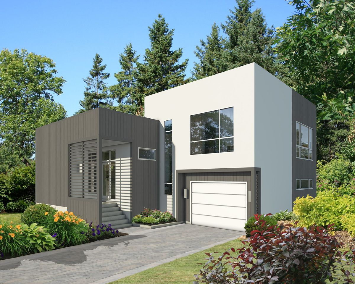 Plano y dise o de casa de 2 plantas moderna con 2 for Diseno de casas modernas de 2 plantas