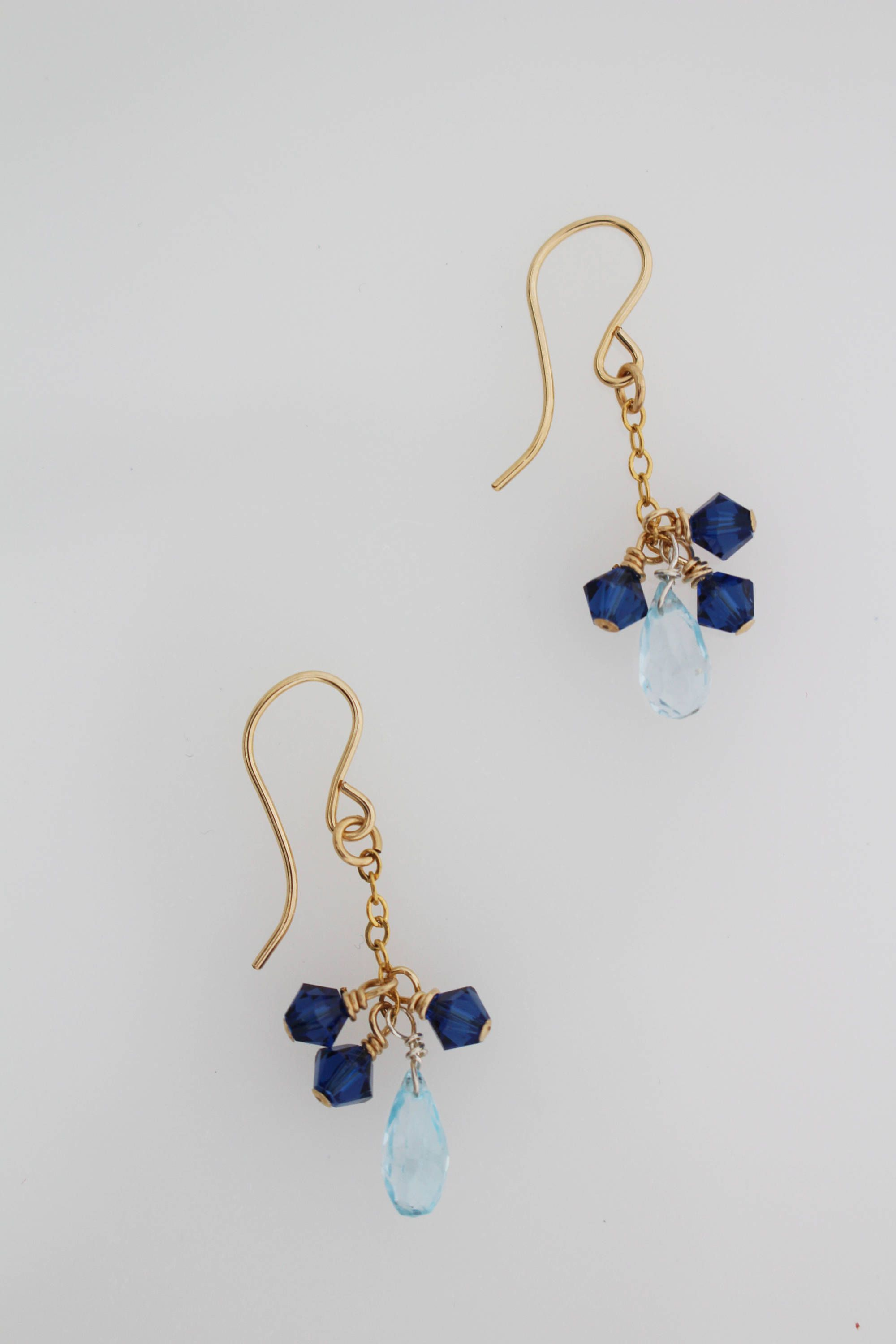 Blue Topaz Earrings With Dark Swarovski Crystals On Gold Plates Wire And Hook