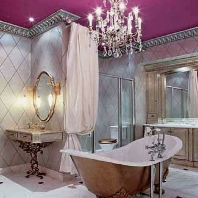 Web Image Gallery Girls bathroom silver crown molding u chandelier with color ceiling Cute