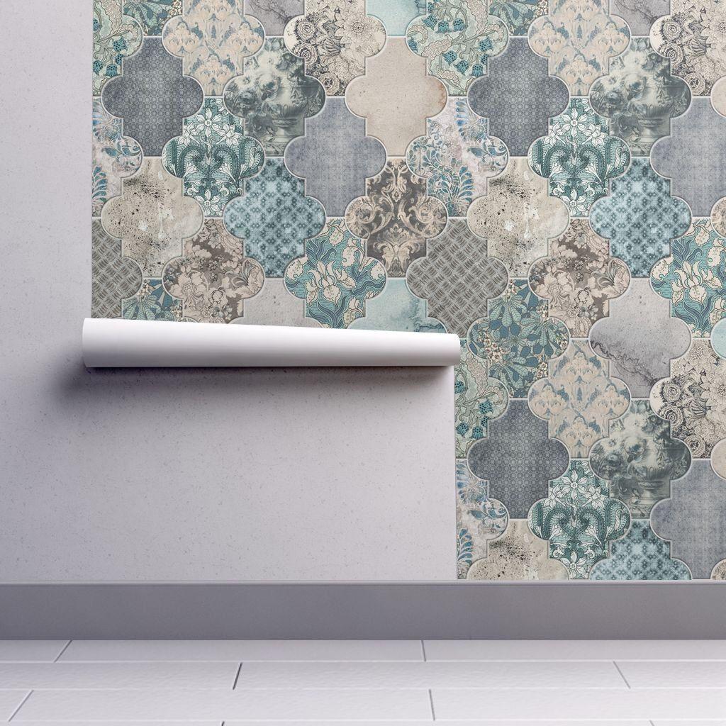 Moroccan Tiles Wallpaper Duck Egg Blue Removable Peel And Etsy Tile Wallpaper Duck Egg Blue Couple Wallpaper