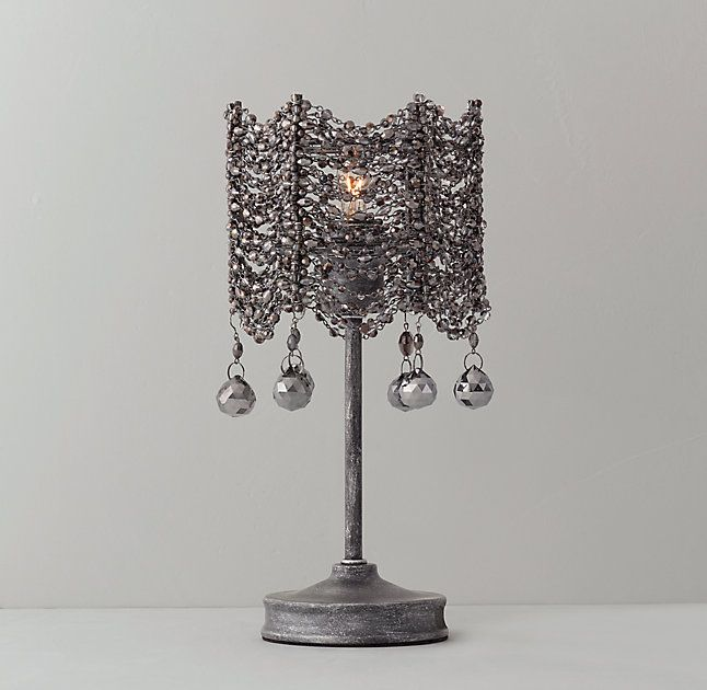 Rh teens coco crystal accent lamp blackinspired by the ethereal elegance of art deco fashion our collection combines draped strands of faceted crystals